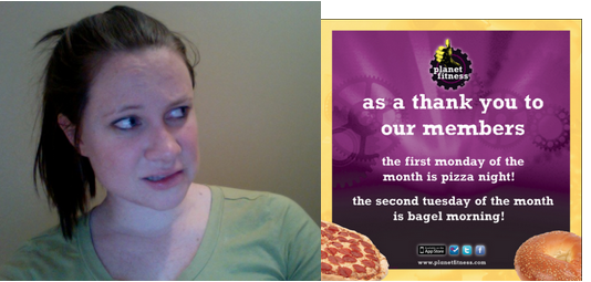 pizza bagel breakfast at planet fitness causes fatness human